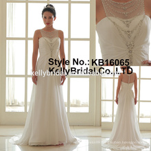 sleeveless beaded chain neckline hot sales wedding gown 2017