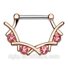 4 Crystal Set Filigran Nippel Piercing 316L Chirurgische Stahl Bar Messing Körper Nippel Bar Clicker Ring