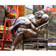 decoração do jardim ao ar livre metal bronze tamanho de vida gordura mulheres escultura