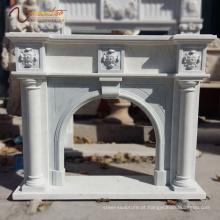 2018 nova fábrica venda pedra natural coluna decorativa Carrara lareira em mármore