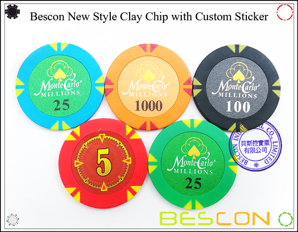 Bescon New Style Clay Chip with Custom Sticker