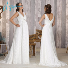 Lace Sashes Crystal Sheath V Neck Chinese Wedding Dress Mother Of The Bride