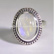 Designer Regenbogen Moonstone Edelstein 925 Sterling Silber Ring Schmuck