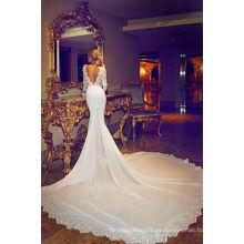 Vestido de novia de gasa con manga larga