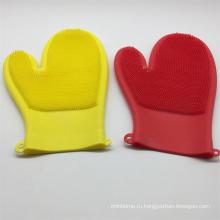 Силиконовые перчатки многоразовые бытовые скруббер