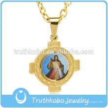 Oraciones cristianas colgante en acero inoxidable Jesús religioso colgante collar chapado en oro de joyería personalizada para venta al por mayor