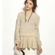 16STC8148 open neck ladies cashmere blend pullover