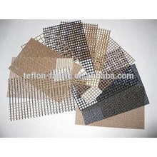 Aislamiento térmico no-pegajoso teflón recubierto de fibra de vidrio tejido de malla de alambre