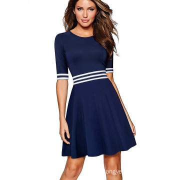 Contrast Causal Half Sleeve Dresses A Line of Business Dress Women