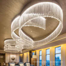 Contemporary luxury lighting hotel lobby glass stainless steel Modern large chandelier