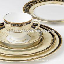 De primera clase de porcelana dorada wedgwood elegante real hueso de cerámica de cerámica de oro vajilla