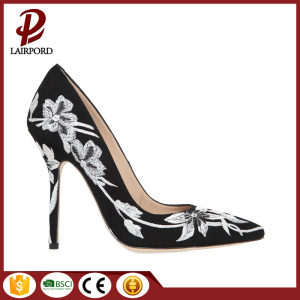 Stiletto heel black printing flower women shoes