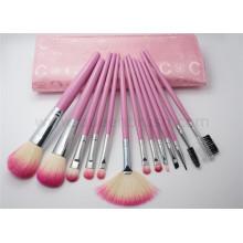 13PCS Ensemble de brosse à maquillage avec une pochette rose