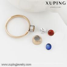 13782-Xuping 3 color CZ piedra intercambiables nuevos anillos de acero inoxidable para 18k
