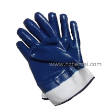 Fully Double Dipped Nitrile Jersey Gloves Industrial Safety Work Glove