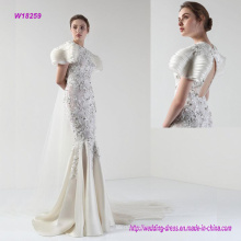 a Royal Beaded Sweep Train Wedding Dress with Multilayer Sleeves