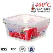 2014 Easylock 500ml récipient de stockage de nourriture en verre carré résistant à la chaleur