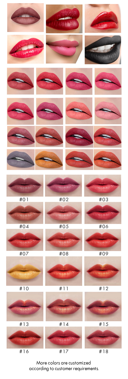 Velvet pastel lipstick color card