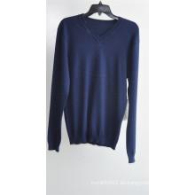 Invierno hombres de manga larga de cuello en V suéter jersey de punto