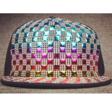 Quilted Faux Leather Mesh Snapback Hats