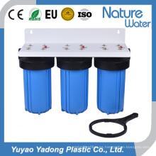 Filtro de agua azul grande de tres etapas