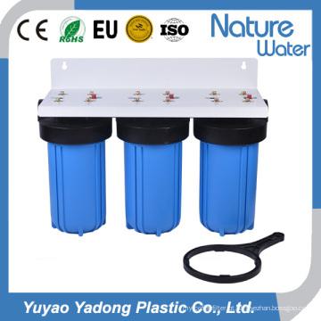 Filtro de água azul grande de três fases