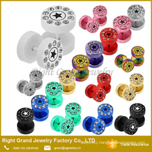 New design 316L Stainless Steel Multi Gems Star Laser Fake Cheater Plugs