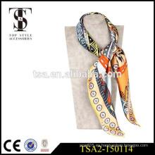 El precio competitivo de la alta calidad imprimió la bufanda de seda china del satén chino de los 16 milímetros 90x90