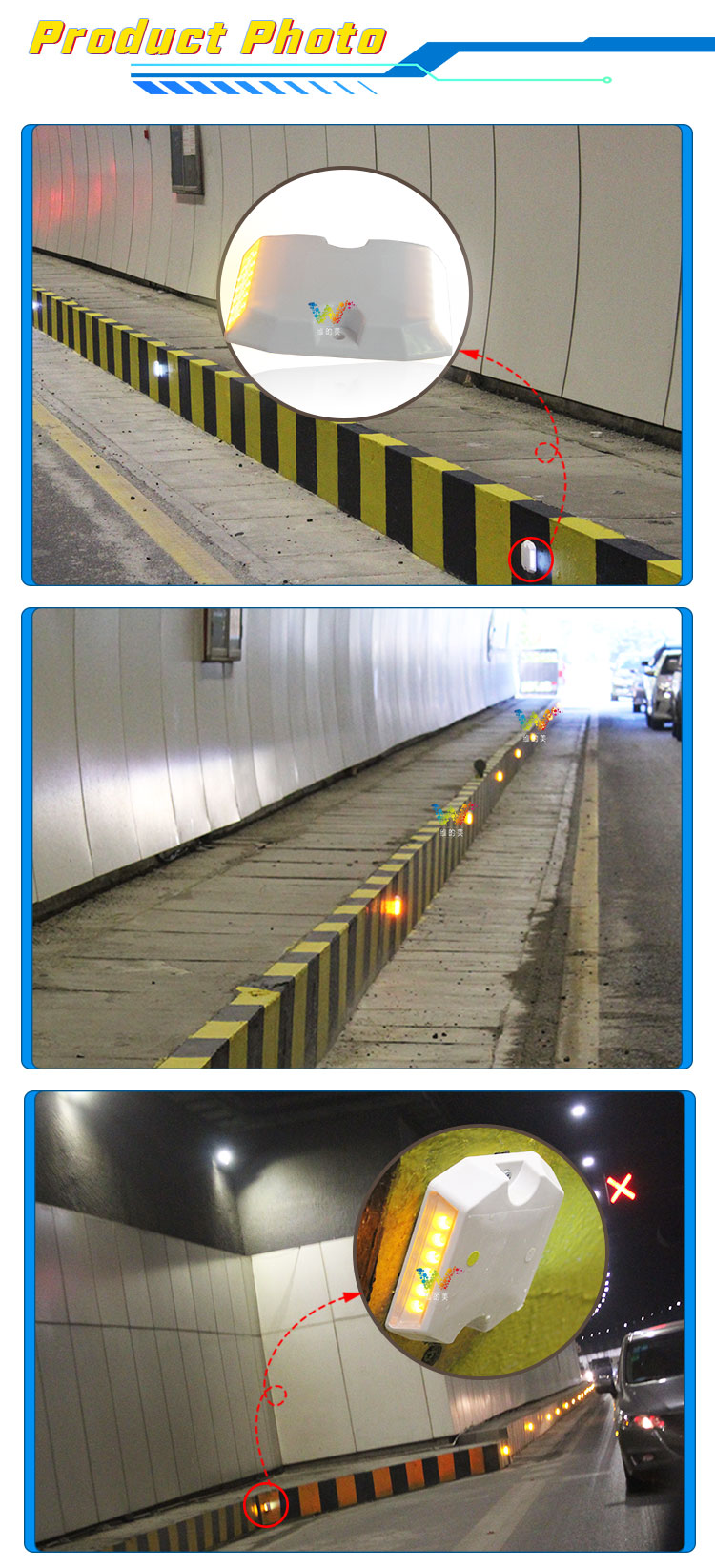 Tunnel plastic road stud-09