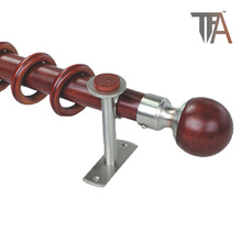 Round Ball Woodencurtain Pipe Finial Window Curtain Rod (curtain track)