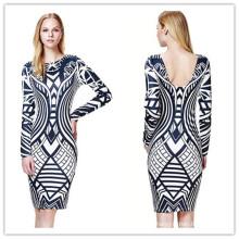 Elegant Geometric Print Long Sleeve Lady Bandage Dress