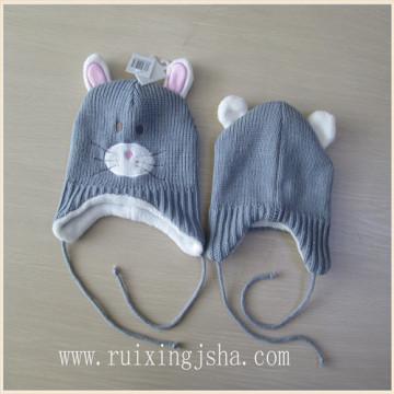 Los niños sombrero hecho punto forro paño grueso y suave