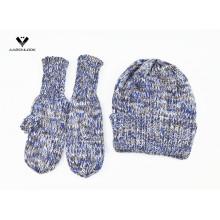 Sombrero de la gorrita tejida del invierno de las señoras y mitón 2PCS fijados
