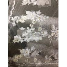 Stickerei weg von der weißen handgemachten Spitze für Hochzeits-Kleid 18
