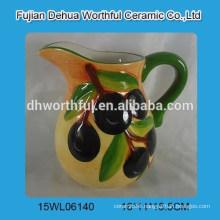 Hot sale ceramic milk jug w/olive figurine