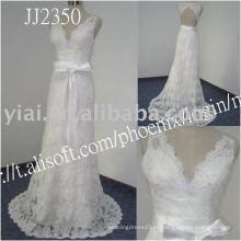 Vestido de boda sin tirantes rebordeado verdadero del cordón del vestido de bola del cordón del cordón de la alta calidad libre del envío del precio bajo de la gota 2011 JJ2350