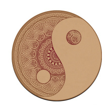 Natural rubber round cork yoga mat for meditation and relaxation