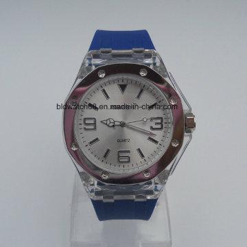 La mano del silicón pulsa los relojes análogos vendedores calientes del silicón del deporte para las señoras de los hombres