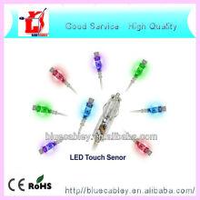 Color de moda de diseño LED táctil transparente cargador de coche para Samsung