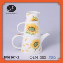 Juego de té de cerámica con la impresión, pote de la flor de la pintura de la mano,