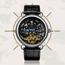 Genuine Leather Fashion Luxury Skeleton Wrist Watch