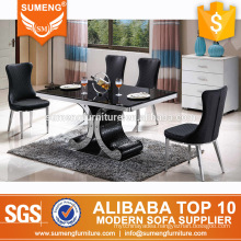malaysia hot sale black rectangle marble steel base dining table set cheap dining room set