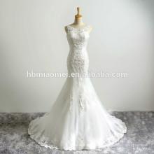 Nupcial romántico nupcial escote redondo sin respaldo gasa apliques hermosa sirena vestido de novia atractivo
