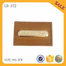 LB372 Moda design metal logo jeans patch etiquetas de couro para bolsa / vestuário