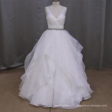 Gorgeous V-neck Open Back Wedding Dress With A Crystal Sash
