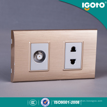 Igoto South American 2 Gang 2pin Wall Switch e Socket