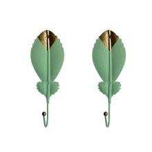 Modern Luxury Leaves Shape Decorative Metal Floating Shelf Wall Mounted Key and Coat Hooks