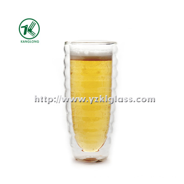 Clear Double Wall Glass Cup for Home Decoration (Dia8.6cm, H: 16cm, 470ml)