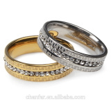 High Quality Gold Plated Elegant Rhinestone Ring Size 7 8 9 10 Luxury jewelry for Woman And Man