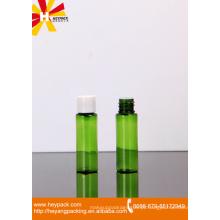 20ml verde translúcido pequeno animal de estimação plástico garrafa com ficha e parafuso de tampa